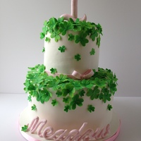 Clover First Birthday Cake Gumpaste clovers, topper, and name
