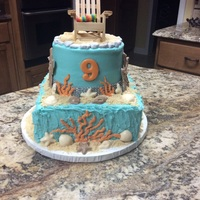 Alyssa Beach Cake Be on sour cream cake with my accents and beach chair