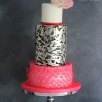 Pink Glam Wafer paper bottom tier with a silver leaf middle tier.
