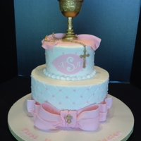 Kayton's 1St Communion Cake Cake is buttercream with fondant plaque, bow, and rosary. Chalice is gumpaste.