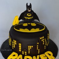 Lego Batman Birthday Cake Vanilla Genoise cake filled with fresh butter cream and covered in a combo of Duff's black fondant and fresh marshmallow fondant. This...