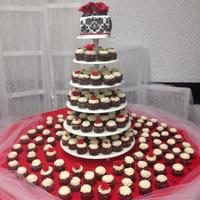 Red And Black Wedding Cake Fondant roses on red velvet cake and cupcakes
