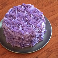Lavender Rose Cake 8in WASC with buttercream roses