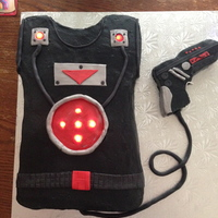 Laser Tag Cake  Made this for my son's Game Truck Laser Tag birthday party (a blast!). He loved the LED lights that made the vest light up....