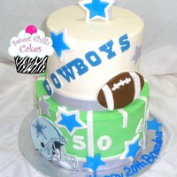 Dallas Cowboys   2 tiere Dallas Cowboys Football Cake done in mostly buttercream with fondant accents and edible image helmet.