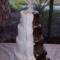 Duo Wedding Cake   Wedding cake and grooms cake combination. Piping for the bride, strawberry tuxedos for the grooms.