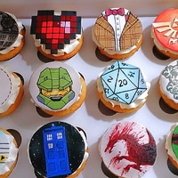 Geek Cupcakes Sooo many geek references, so little time, lol. All hand-painted. :)