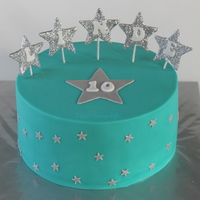 Turquoise Cake With Silver Stars A turquoise cake with silver stars, that's what she asked for :-)