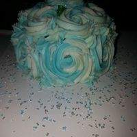 Rose Cake Rose cake, blue and white two tone.