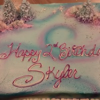 Airbrushed Sheetcake Airbrushed sheet cake with shimmer and sugar cone trees