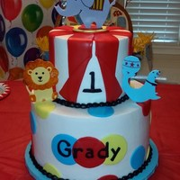 1St Birthday Circus Cake   Buttercream icing with fondant decorations made to match the decorations.