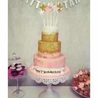 Twinkle Twinkle 1St Birthday Fondant with gold sugar crystals