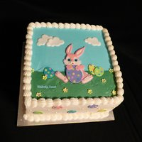 "Happy Easter!  This is an 8"" Easter Bunny Cake that I made for my family. It's Chocolate cake frosted in butter cream & filled with..."