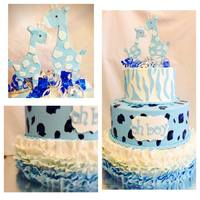 Giraffe Baby Shower Cake Blue and White Giraffe Baby Shower Cake