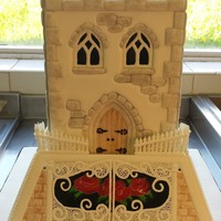 Castle Cake This is the last but one cake done at college for my Level 3 ABC Cake Decoration Certificate. Royal Icing panels and pressure piped window...