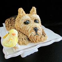 Yorkie Birthday This was made for a special lady who has two Yorkshire terrier dogs. Italian Cream cake but used buttercream for covering instead of cream...