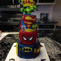 Superhero Cake A Superhero cake made for my nephew. =) The hulk on top is a toy, everything else is edible decoration.