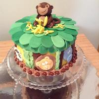 Jungle Theme Cake banana cake with chocolate ganache and chocolate cream cheese buttercream and fondant