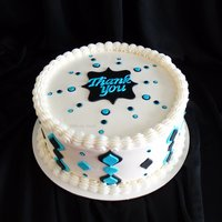 "A Little Appreciation   This is a simple 8"" Chocolate Cake frosted & filled in buttercream. All decorations are fondant."