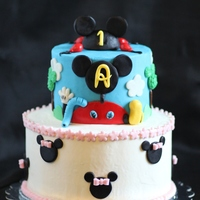 Mickey Mouse Cake Buttercream cake with fondant decorations