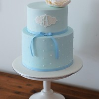 Baby Blue Christening Cake Simple blue Christening Baptism Cake. Sugar Peony.