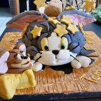 Tom & Jerry Birthday Cake My grandson, Lennox, wanted a Tom & Jerry cake. He really liked this cake. I took the pictures before I took the support toothpicks out...
