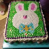 Bunny Cake   This cake was made with the candy sixlets.