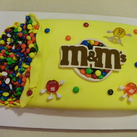 Birthday Cake For M & M Lover M & M birthday cake. Yellow fondant with m&m's for decoration. M&M people are old, from a set of Christmas lights! first...