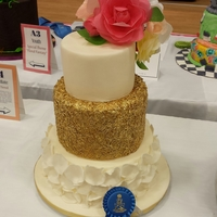 Wafer Paper Flowers Made for the 2015 National Capitol Area Cake Show. 1st place in Intermediate wedding cakes.