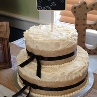 Burlap Bridal Shower Vanilla cake with chocolate chip cookie dough filling