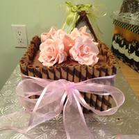 Pink Rose Cake   Pink Fondant Roses, Banana Cake with cream cheese butter cream filling chocolate ganache and hazelnut wafers