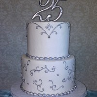 25Th Wedding Anniversary Italian cream cake with buttercream icing and hand painted piping and border.