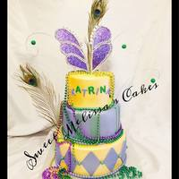 Mardi Gras Three Tier Mardi Gras Cake