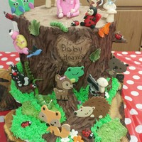 Woodland Baby Shower Cake Made for our Son and Daughter in law . First baby girl in the family. The log and roots were all cake . Loved doing this for them.