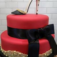 Forty And Fab Red cake with heel!