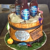 "Wooden Bucket Beer Cake This cake I did for my husbands birthday in 2014. It started with a 9"" round cake, dirty iced. I then created the bucket by cutting..."