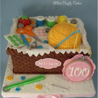 Sewing Basket Cake For 100Th Birthday  I had the honor of making this cake for a remarkable woman celebrating her 100th birthday! She still loves to crochet, and make quilts, and...
