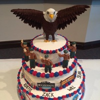 Eagle Scout Cake Our Troop had a ceremony for 5 new Eagle Scouts yesterday. This is the cake I made for the boys. The merits badges and charity organization...