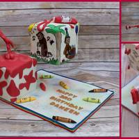Gravity Defying Curious George Artistic Cake The top tier cake is all hand painted with edible colors & the bottom tier cake decorations made from chocolate. Cakes by Naureen