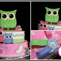 Baby Shower   Owl Baby Shower cake - white cake with strawberry mousse filling...