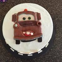 Tow Mater Cake Confetti cake with buttercream icing and fondant decorations.