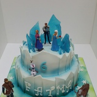 Frozen Cake With Lights a frozen themed cake with a broken glass effect that shined in the dark