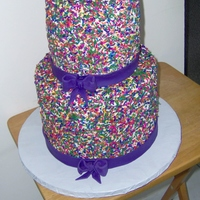 "Sprinkles 9"" and 6"" tall tiers of confetti cake iced in buttercream and covered in sprinkles. Purple fondant ribbon/bows."