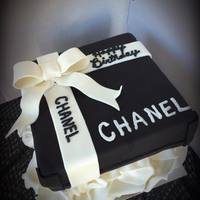 "Chanel Gift Box 8"" square chocolate cake. Chanel gift box cake."