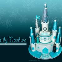Frozen Themed Cake Frozen theme cake, The whole castle cake was based on McGreevy Cakes's free tutorial, Thank you Shawna