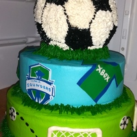 Sounders Baby Shower Cake I made this for my friend's baby shower since they are AVID Sounders fans. I used my Silhouette Cameo to cut out sugar sheets for the...