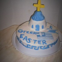 Greek Theme Cake Greek themed cake made for Easter. Inside its a baked cheesecake with ricotta cheese instead of the particular Greek cheese, and then I...