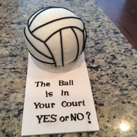Volleyball Prom Proposal Cake Round ball pan used to make volleyball. Covered in fondant