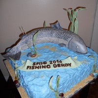 Sportbc Fishing Derby Cake This was made for their year end BBQ in Nanaimo, BC. It is a chocolate buttercream cake with fondant accents. The fish is rice crispies...