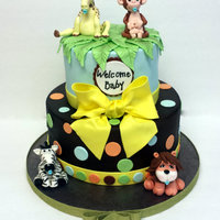 Jungle Baby Shower Fondant with fondant accents3d Fondant animals